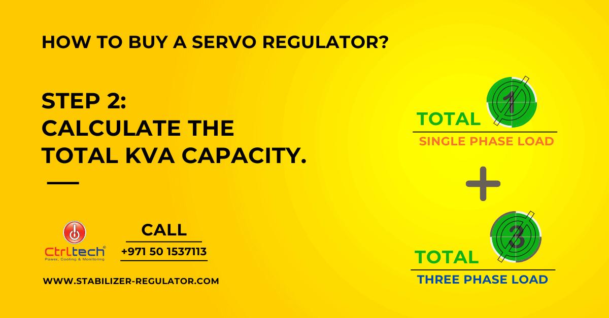 Calculate total KVA rating of a servo motor regulator.