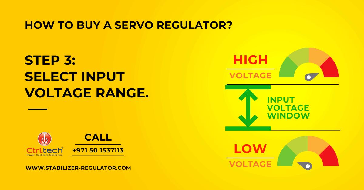 Select input voltage range of servo speed regulator.